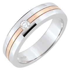 Trouwring Diamanten Ster - Klein model - wit goud, roze goud
