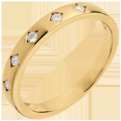 Trouwring Diamantenregen - 5 Diamanten - 18 karaat geelgoud