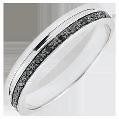 Trouwring Elegantie wit goud en zwarte diamanten - 18K