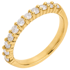 Trouwring Geel Goud betegeld – klauwen - 0.5 karaat - 11 Diamanten
