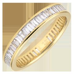 Trouwring geel goud betegeld - staaf - 1,28 karaat - baguette diamanten - Volledig rond