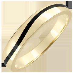 Trouwring Heren Obscuur Licht - Curve - geel goud en zwarte lak - 9 karaat