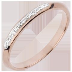 Trouwring - Kleine Bestrating - roze goud
