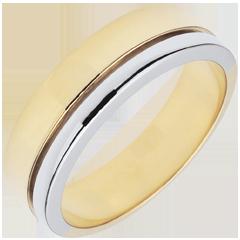 Trouwring Olympia-Groot model - Tweekleurig - 18 karaat goud