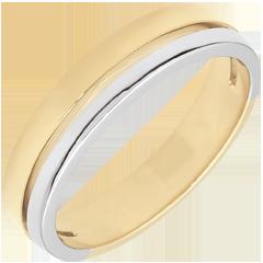 Trouwring Olympia - klein model - Tweekleurig - 18 karaat goud