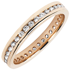 Trouwring Oorsprong - Diamantbed - bezette cirkel - roze goud 9 karaat en diamanten
