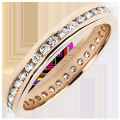 Trouwring Origine - Diamantbed - bezette cirkel - 18 karaat rozégoud met Diamanten