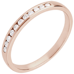 Trouwring Roze Goud half betegeld – rails - 11 Diamanten