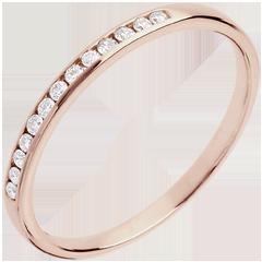 Trouwring Roze Goud half betegeld – rails - 13 Diamanten