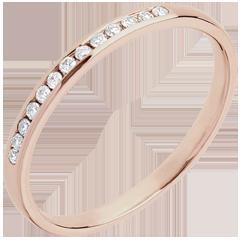 Trouwring rozégoud Diamant - 18 karaat goud