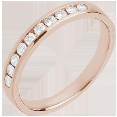 Trouwring rozégoud half bezet - rails - 10 Diamanten - 18 karaat goud