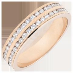 Trouwring rozégoud semi bezet - staaf 2 rijen - 0,32 karaat - 32 Diamanten