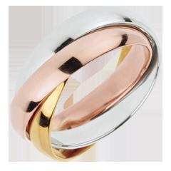 Trouwring Saturnus Beweging - groot model - 3 goudkleuren, 3 Ringen 18 karaat goud