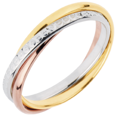 Trouwring Saturnus Beweging variatie - klein model - 3 goudkleuren, 3 Ringen 18 karaat goud