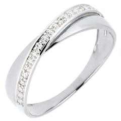 Trouwring Saturnus Duo - Diamanten 18 karaat witgoud goud