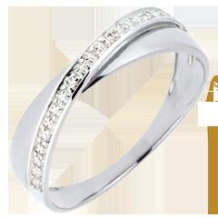 Trouwring Saturnus Duo - diamanten - wit goud - 9 karaat