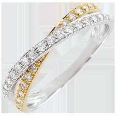 Trouwring Saturnus Duo dubbele Diamant 18 karaat geelgoud en witgoud