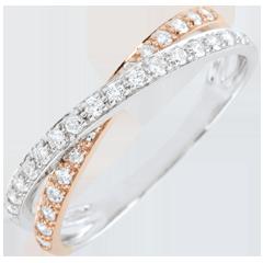Trouwring Saturnus Duo dubbele diamant - roze goud en wit goud - 18 karaat