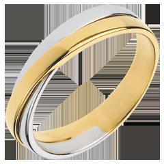 Trouwring Saturnus Duo - volledig goud - 18 karaat geelgoud en witgoud