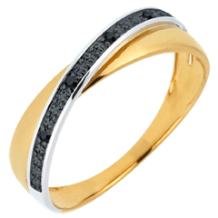 Trouwring Saturnus Duo - zwarte diamanten en geel goud - 18 karaat
