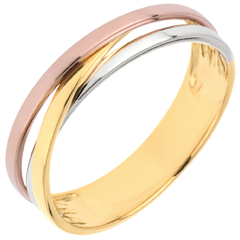 Trouwring Saturnus Trilogie variatie - drie goudkleuren - 18 karaat