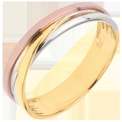 Trouwring Saturnus Trilogie variatie - drie goudkleuren - 9 karaat