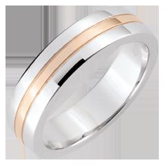 Trouwring Ster - Klein model - wit goud, roze goud