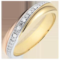 Trouwringen Saturn - Trilogie - 18 karaat drie goudkleuren en Diamanten