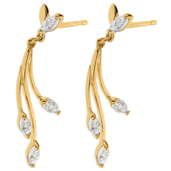 Two Gold and Diamond Floral Luxury Earrings