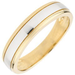 Verighetă bicoloră Orizont - aur alb şi aur galben de 9K