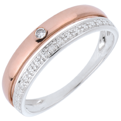 Verighetă Cocheta - aur alb şi aur roz de 9K