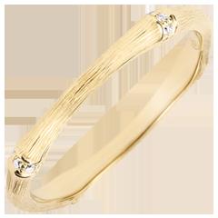 Verighetă Junglă Sacră - Multi diamante 2 mm - aur galben de 18K cu lustru periat