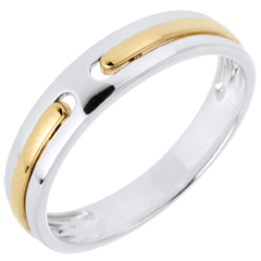 Verighetă Promisiune - în întregime din aur - aur alb şi aur galben de 9K