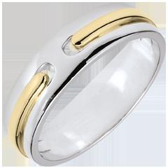 Verighetă Promisiune - în întregime din aur - model foarte mare - aur alb şi aur galben de 9K