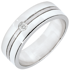 Verighetă Star Diamant - Model mare - aur alb cu aspect periat de 9K