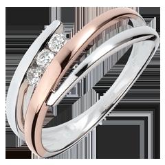 Verlobungsring Kostbarer Kokon - Diamanttrio - Roségold und Weißgold - 3 Diamanten - 18 Karat