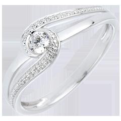 Verlobungsring Kostbarer Kokon - Teuerste - Weißgold - Diamant 0.12 Karat - 18 Karat