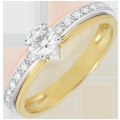 Verlobungsring Solitär Schicksal - Meine Königin - Kleines Modell - Dreierlei Gold