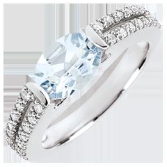 Verlobungsring Triumph - 1.2 Karat Aquamarin und Diamanten - 18 Karat Weißgold