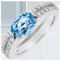 Verlobungsring Triumph - 1.5 Karat Topaz und Diamanten - 18 Karat Weißgold