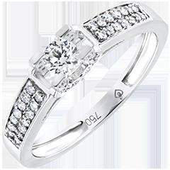 Verlobungsring Ursprung - Göttin - 18 Karat Weißgold und Diamanten