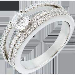 Verlovingsring Destiny - Hertogin - 0,5 karaat centrale Diamant - 67 Diamanten witgoud