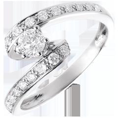 Verlovingsring Destiny - Solitaire - Nefertiti - 18 karaat witgoud - 0,27 karaat Diamant