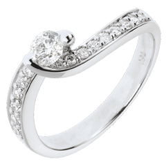 Verlovingsring Destiny - Zonnestilstand 18 karaat witgoud bezet - 0.49 karaat - 17 Diamanten