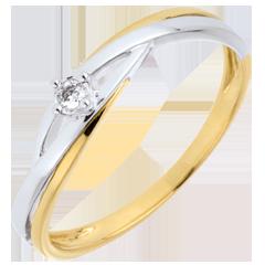 Verlovingsring Diamanten Ring Solitaire Liefdesnest -Dova - 0.03 karaat Diamant - 9 karaat geelgoud en witgoud