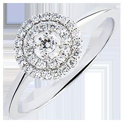 Verlovingsring Origine - Dubbele halo - 18 karaat witgoud met Diamanten