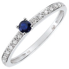 Verlovingsring Solitaire Boréale- saffier 0.12 karaat en diamanten - wit goud 9 karaat