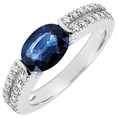 Victory Engagement Ring - 1.7 carat sapphire and diamonds - white gold 18 carats