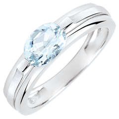 Victory Engagement Ring variation - 0.65 carat aquamarine - white gold 18 carats