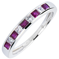 Wedding Ring Colourful Origin - white gold 9 carats, sapphires and diamonds